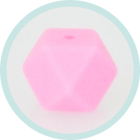 Hexagonperle rosa 14mm