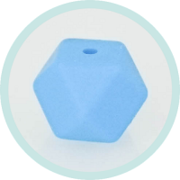 Hexagonperle hellblau 14mm